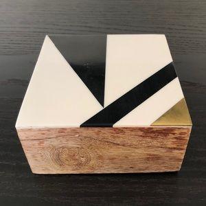 Geometric Inlaid Wooden Box NWT